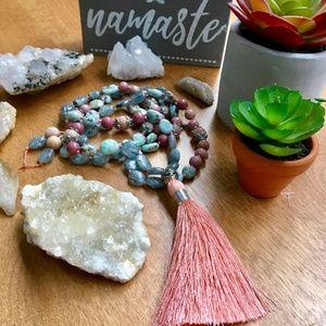 Handmade 108 Bead Mala Bead Necklace, Crystals